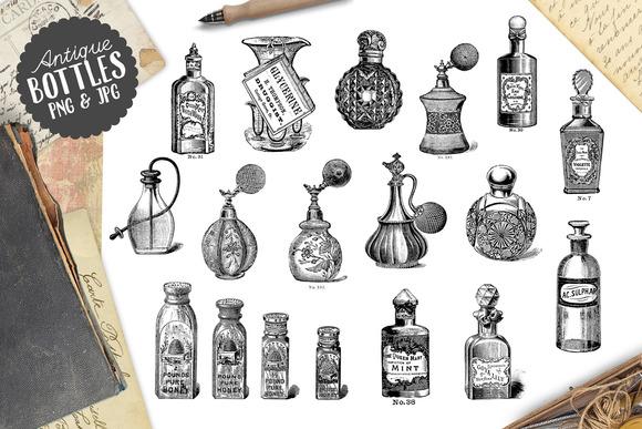 Antique Vintage Perfume Bottles Graphics On Creative Market