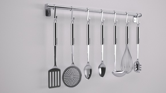 Cooking Utensils on a Rack