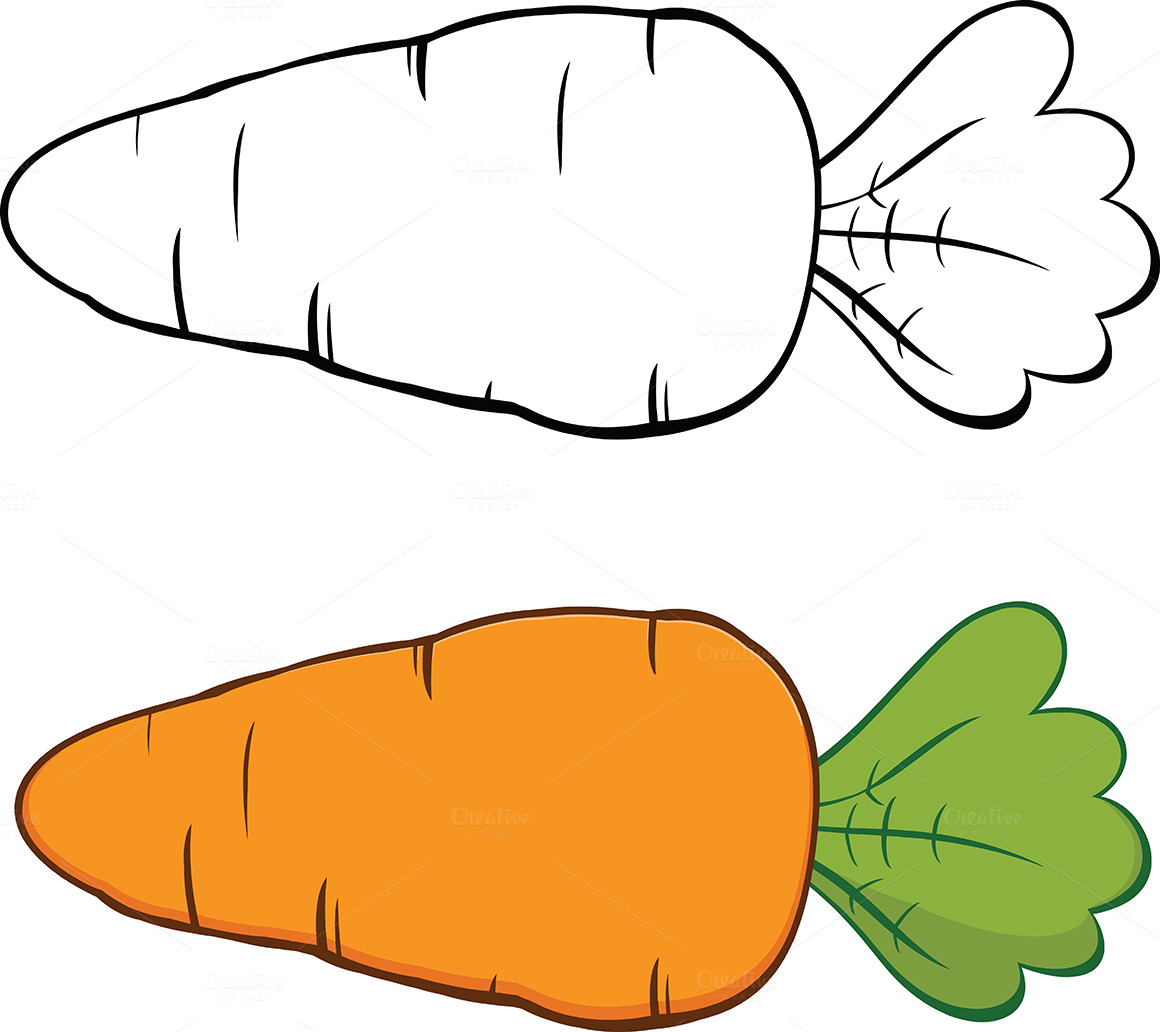 Cartoon carrot collection illustrations on creative market - Dessin carotte ...