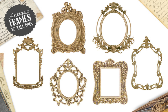 6 Antique Gold Frame Graphics Png Graphics On Creative