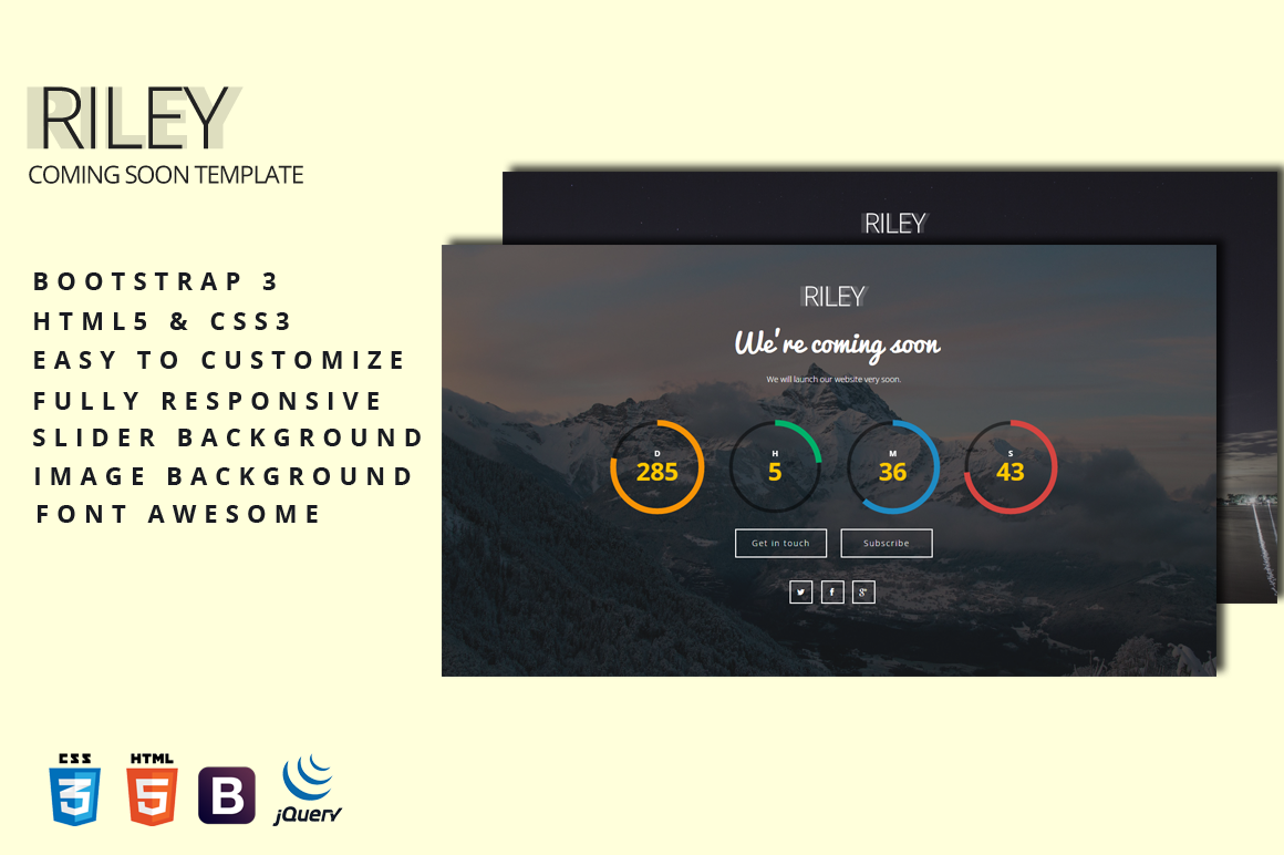 Riley Coming Soon Page Bootstrap Themes On Creative Market