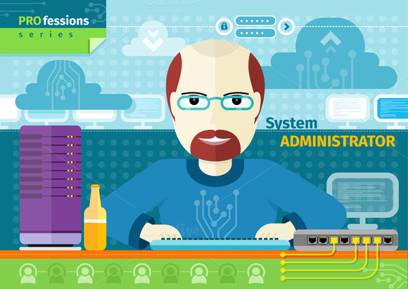 System Administrator In Data Centre Illustrations On