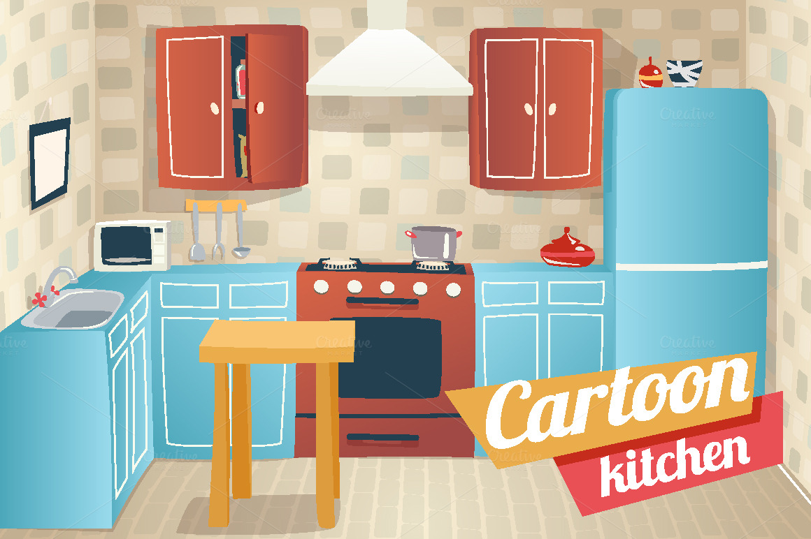 Cartoon kitchen with cabinets and window vector art illustration - Kitchen Cartoon Pic Source