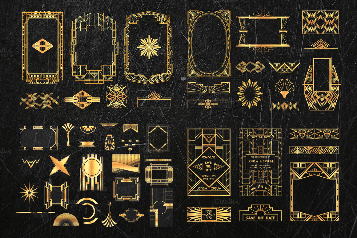 Art deco bundle 500 elements illustrations on creative for Deco 5 elements