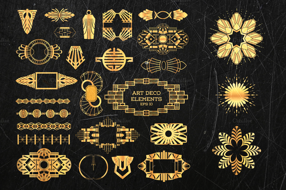 Art deco bundle 500 elements illustrations on creative - Art deco design elements ...