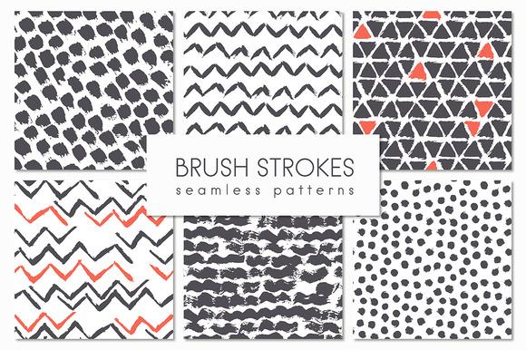 Brush Strokes. Seamless Patterns ▪ 4 - Patterns