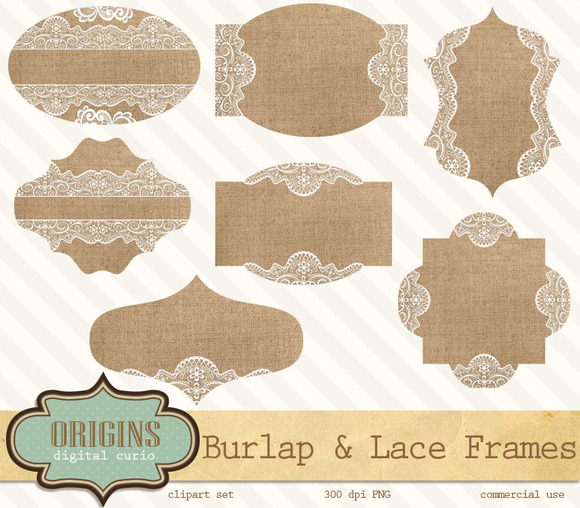 burlap and lace frames clipart objects on creative market. Black Bedroom Furniture Sets. Home Design Ideas