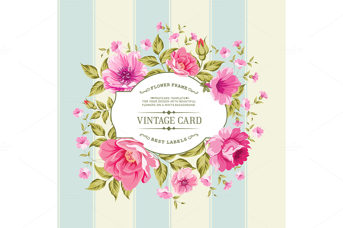 flower label on a bright background card templates on. Black Bedroom Furniture Sets. Home Design Ideas