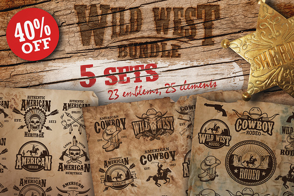 Bundle of vintage wild west sets