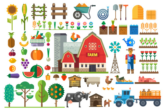 Farm in village. Elements for game - Illustrations