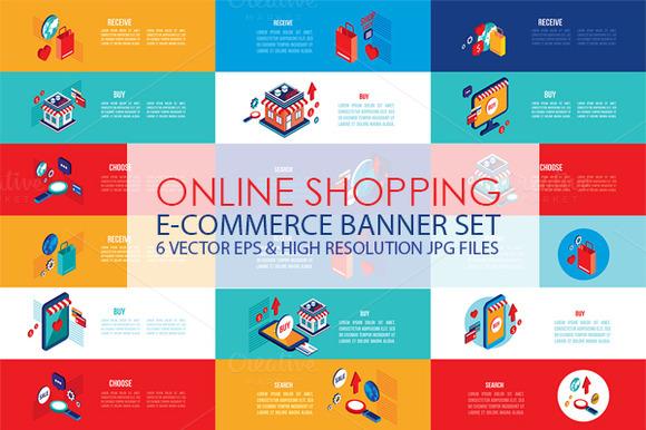 Online shopping isometric banner set illustrations on for Design shop online
