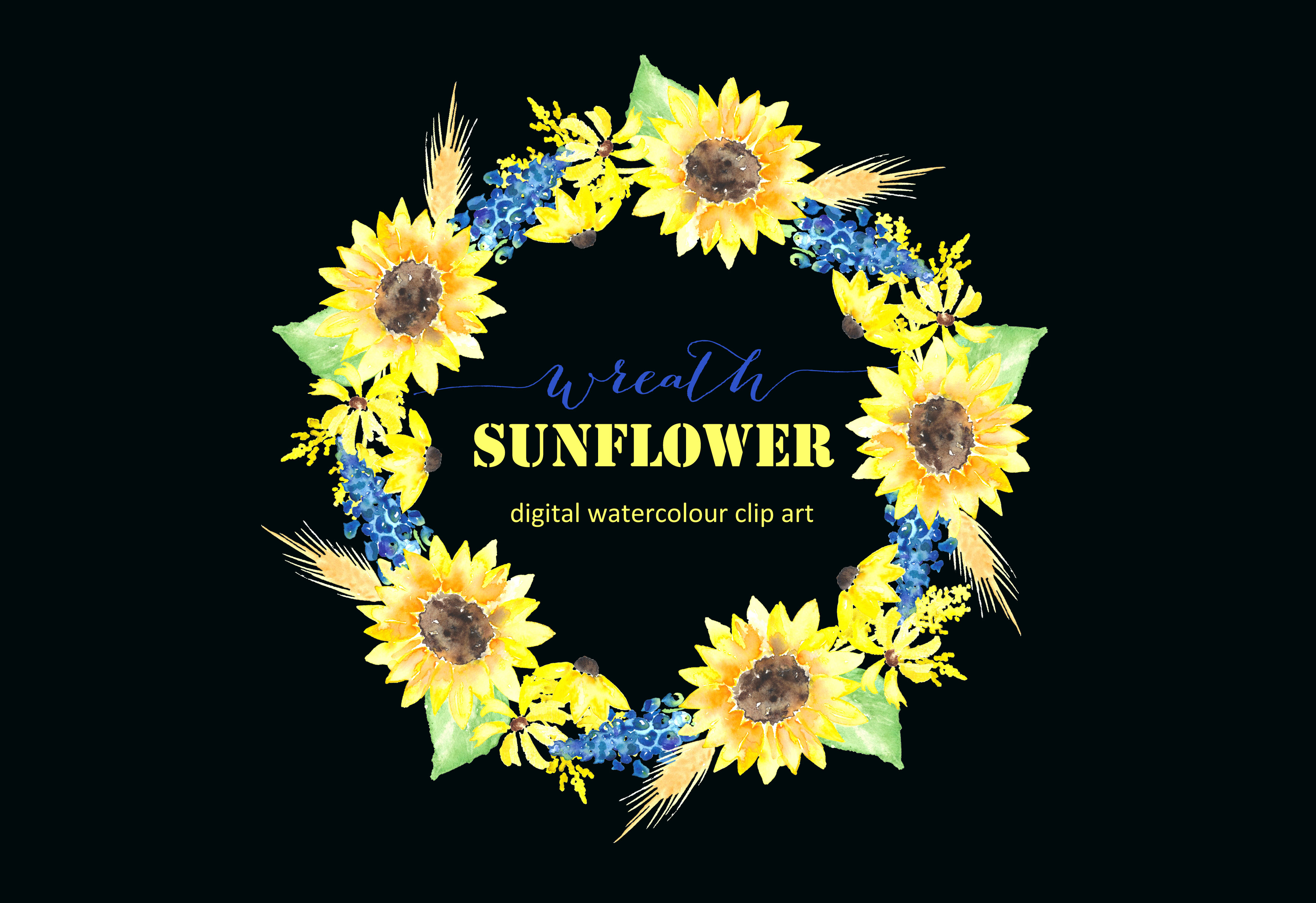 sunflower wreath watercolour clipart graphics on