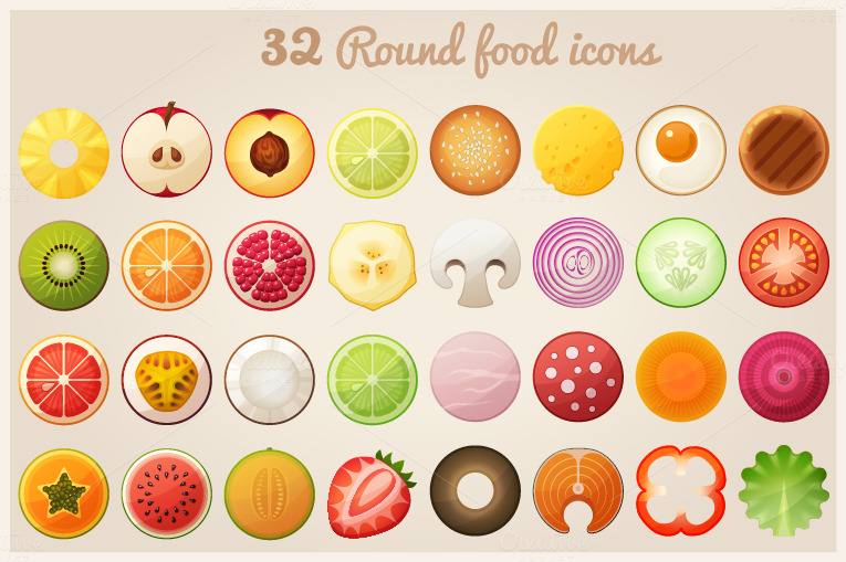 how to cut a round fruit wedding cake fruit halves and food icons icons on creative market 15620