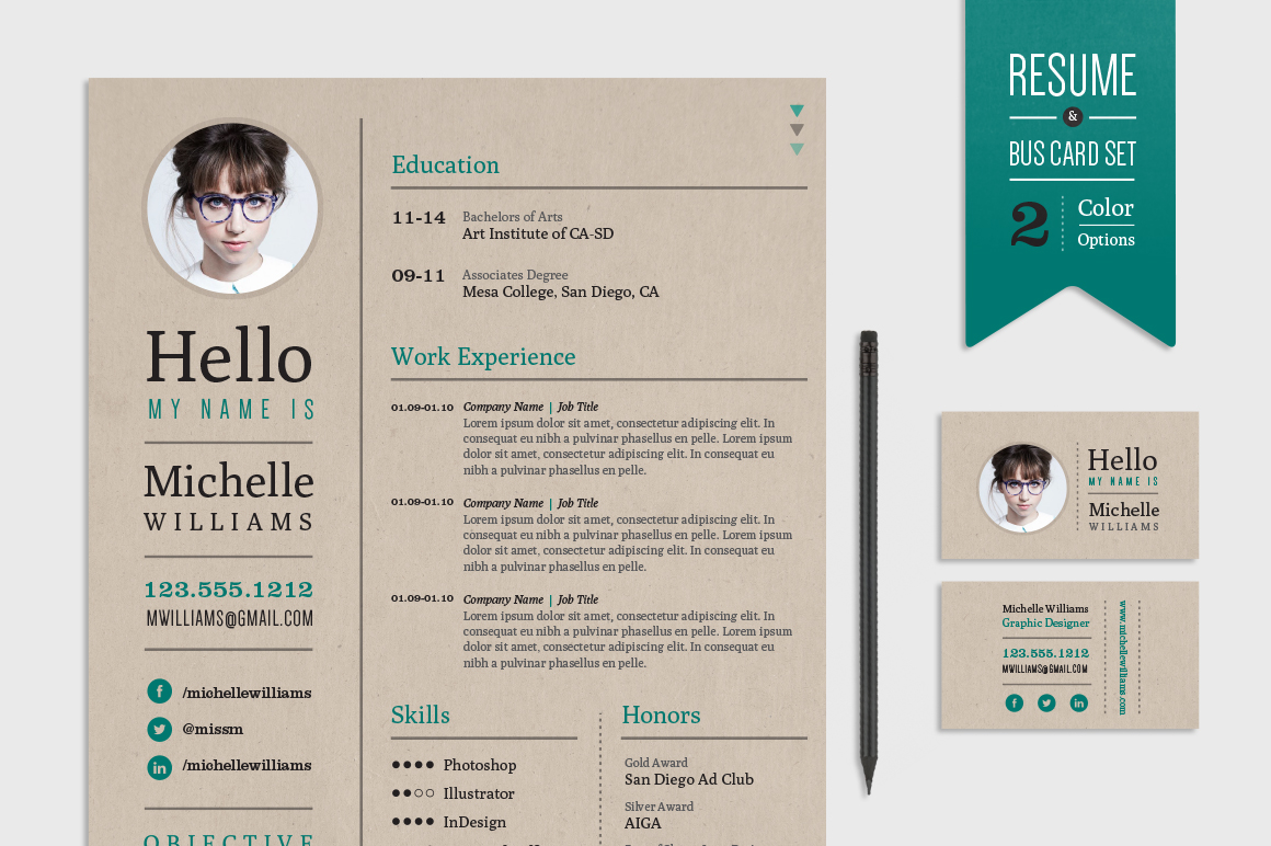 creative resume  u0026 business card set