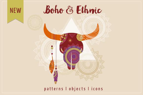 Boho & Ethnic set. Patterns + icons - Patterns