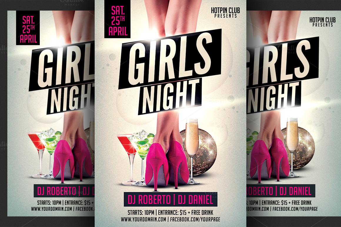 Girls Ladies Night Party Flyer Flyer Templates On