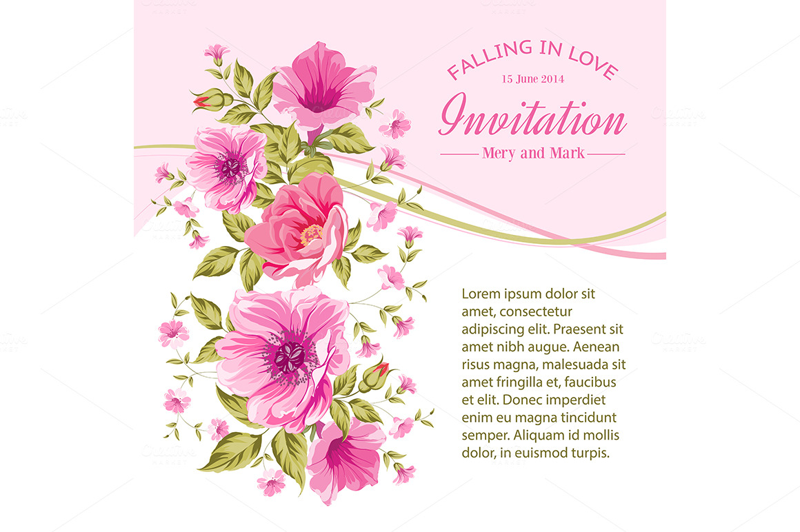 invitation card template with flower  card templates on