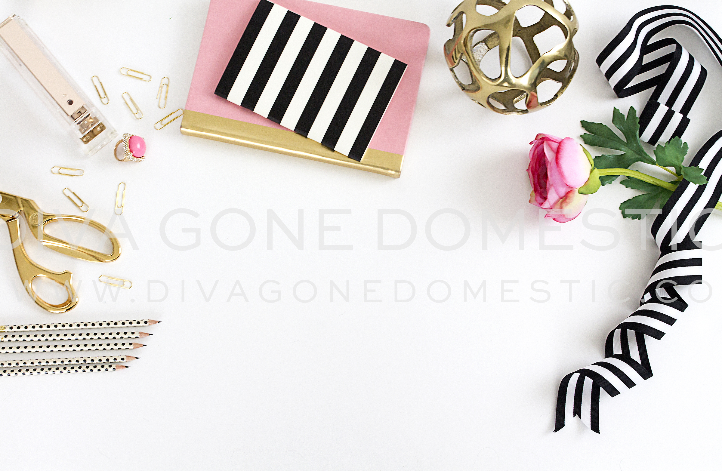 Styled Desk Top Chic Pink Office Product Mockups On