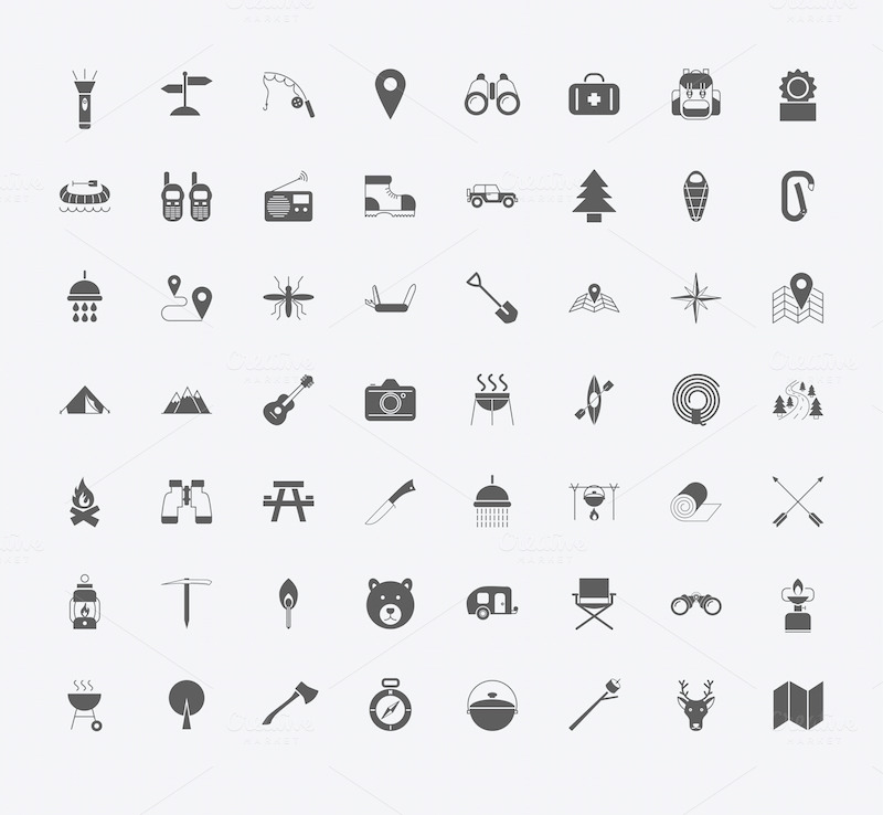 Camping icons. ~ Icons on Creative Market