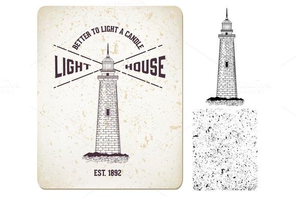 """Vector. vintage label """"lighthouse"""" - Illustrations"""