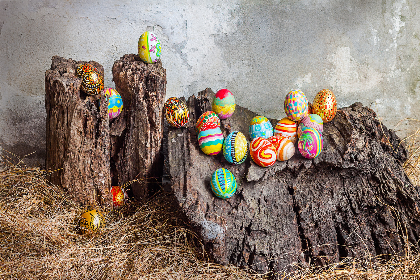 Colorful easter egg on old log holiday photos