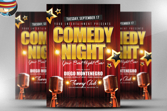 comedy night flyer template flyer templates on creative