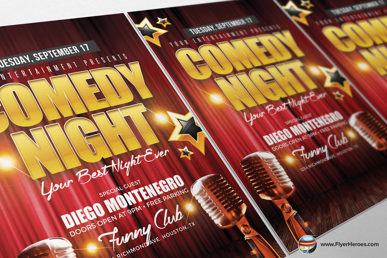 comedy night flyer template creative market 4. Black Bedroom Furniture Sets. Home Design Ideas