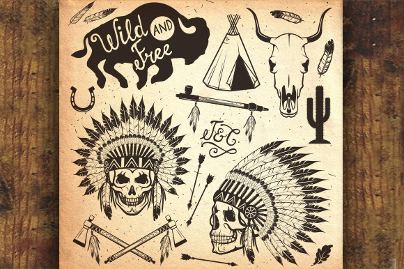 West Sets. Indian chief headdress. - Illustrations