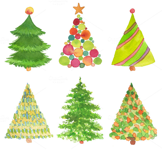Watercolour Christmas Tree: Set Of Watercolor Christmas Tree.