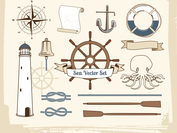 vintage nautical decoration set graphics on creative market