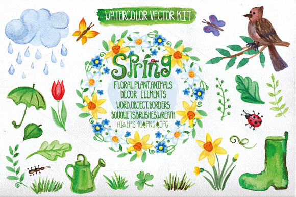 Watercolor spring big set.Vector - Illustrations