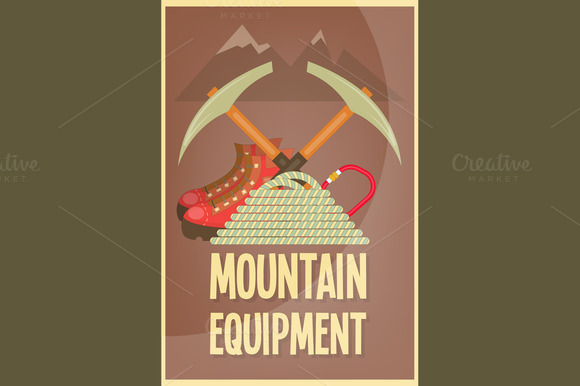 Mountain climbing placard in retro style camping and hiking elements - Mountain Climbing Illustrations On Creative Market