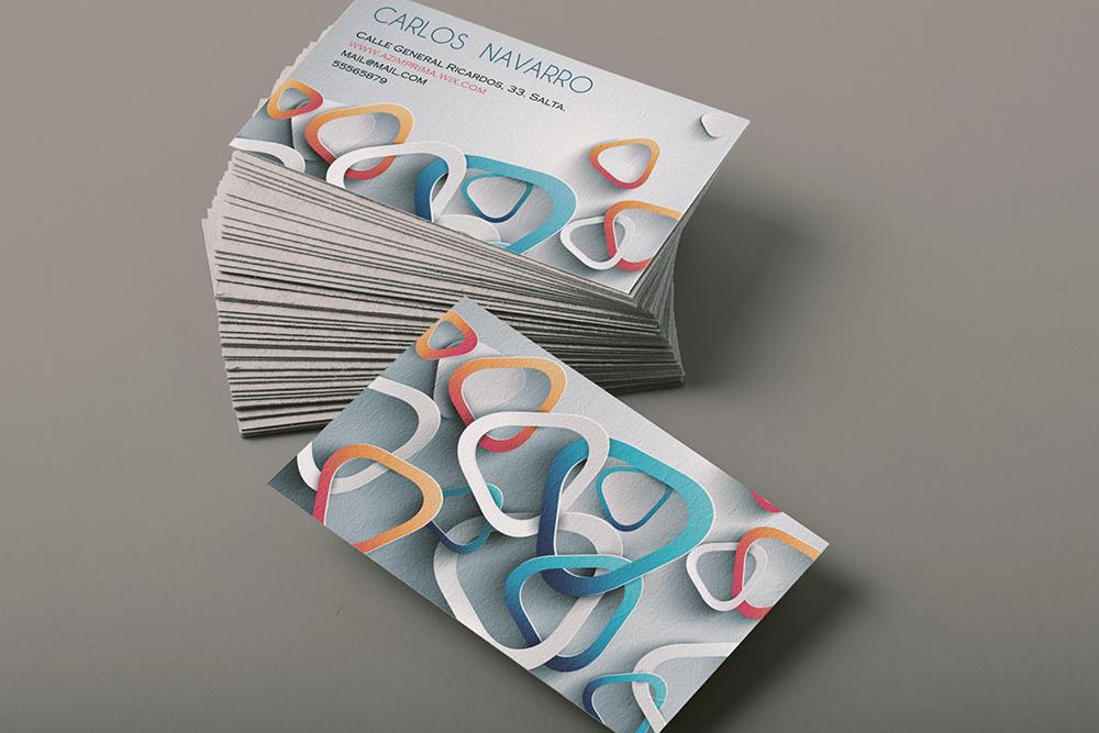business card 3D triangles orange b Business Card
