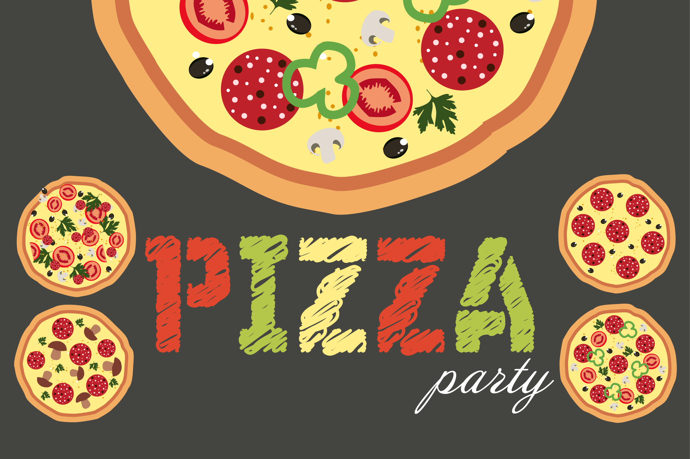 Pizza Party Set Illustrations On Creative Market