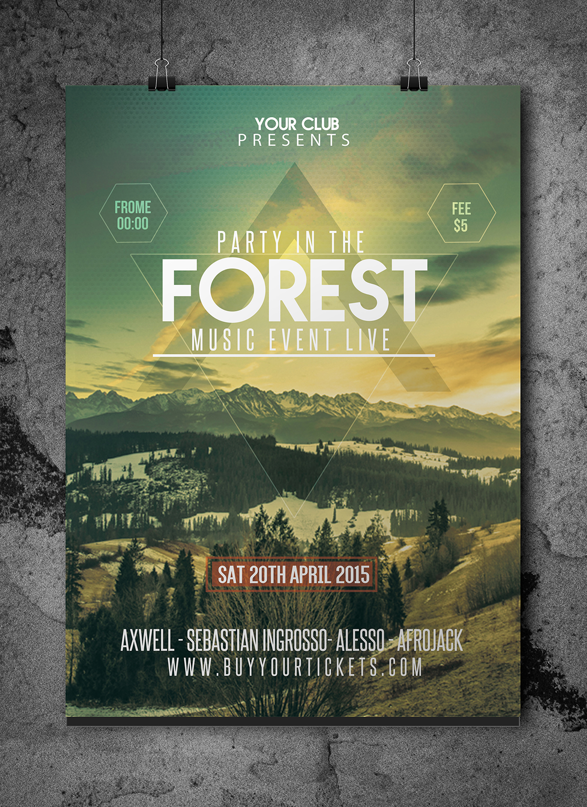 forest party  festival flyer template