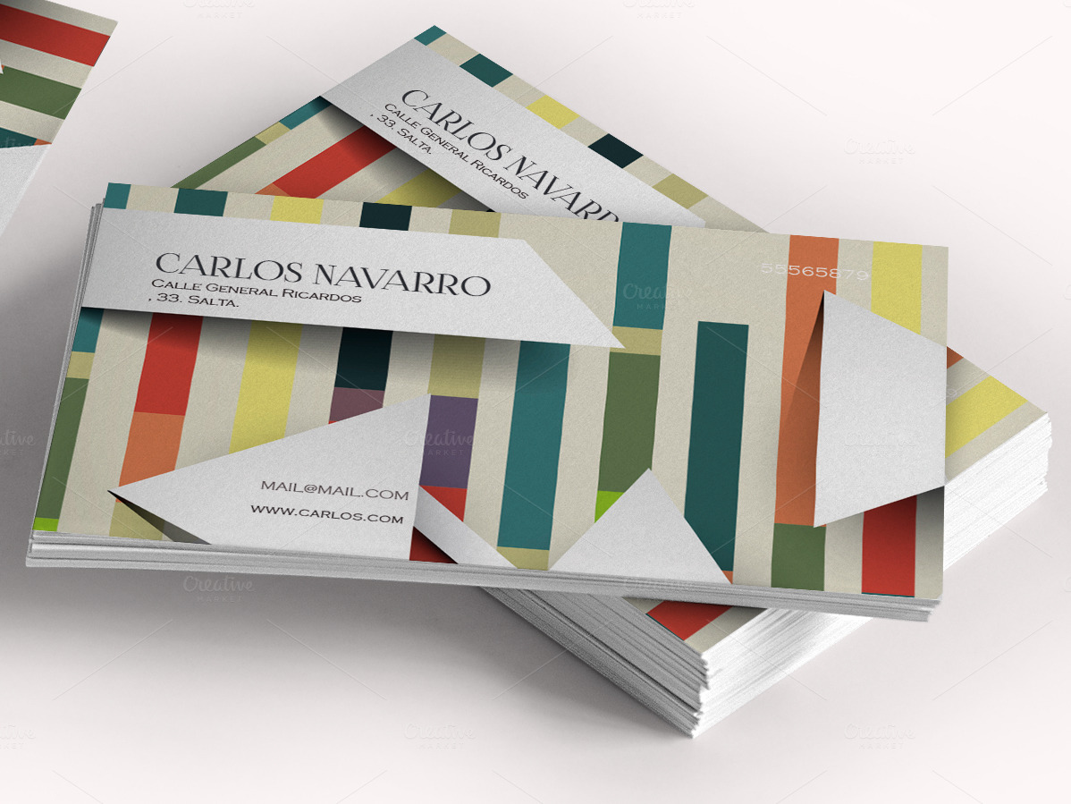 Business card striped color 3D ~ Business Card Templates on Creative ...