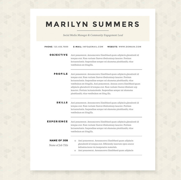 classic resume template package