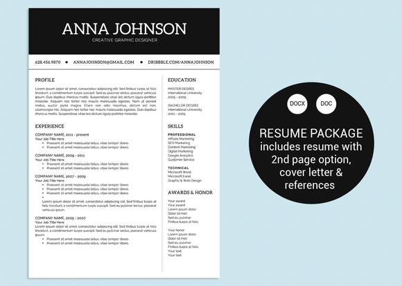 simple black  u0026 white word resume