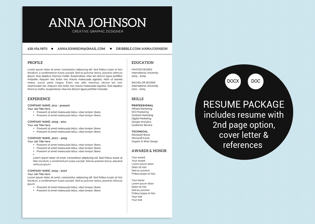 simple black white word resume resume templates on creative market. Black Bedroom Furniture Sets. Home Design Ideas