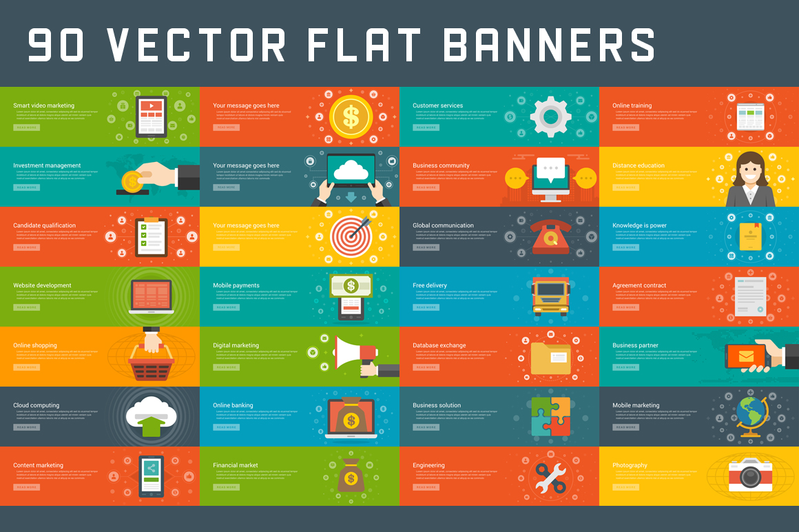 90 Flat Website Banners Templates Illustrations On