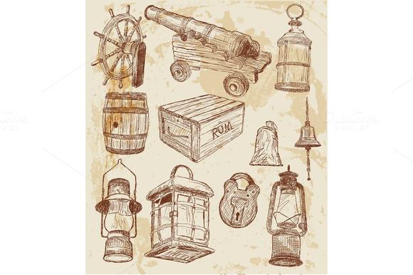 Vector. Pirate design elements. - Illustrations