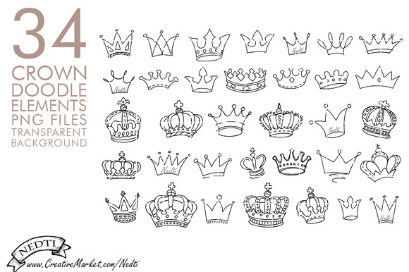 Crowns Doodle Hand Drawn PNG Clipart Illustrations On Creative