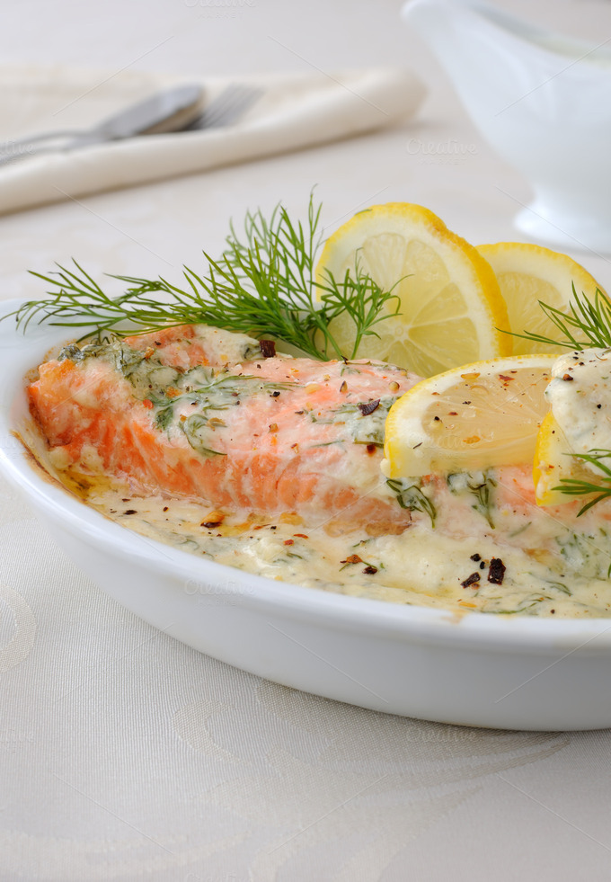 Salmon with cream and lemon sauce ~ Food & Drink Photos on Creative ...