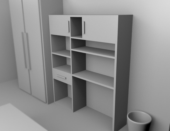 A Bookcase 3D Rendered