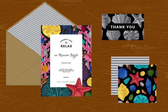 Seashells. Card, Pattern, Set. - Illustrations