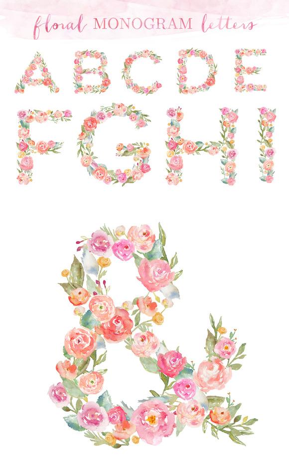 Monogram Floral Alphabet Letters ~ Illustrations on ...