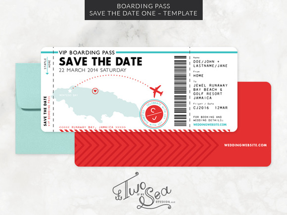 Boarding Pass Save The Date Template Invitation