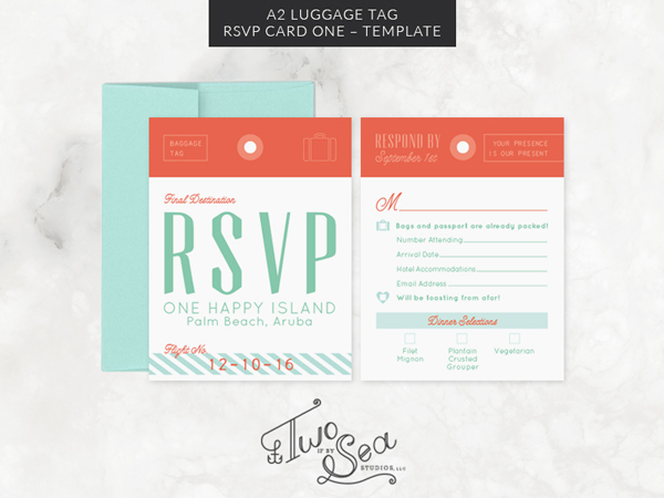 A2 Luggage Tag Rsvp Card Template Invitation Templates