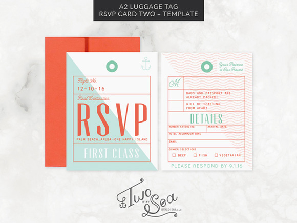 A2 Luggage Tag RSVP Card Template ~ Invitation Templates ...
