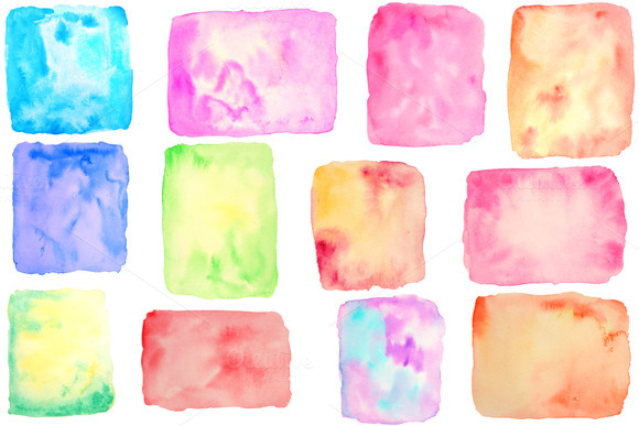 Watercolor Square Rectangle Shapes